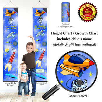 Height Growth Chart Space & Star Trek Theme