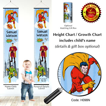 Height Growth Chart,  Superheroes Superman Theme