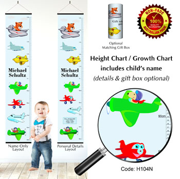 Growth Height Charts Flying Planes and Aircraft
