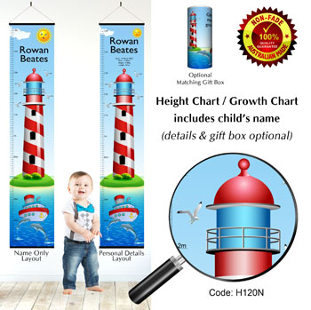 Height Growth Chart Lighthouse and Sea Boat Theme