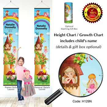 Fairy Height Growth Chart with Fairies & Rainbow