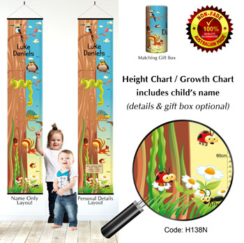 Height Growth Chart - Animals in Woods