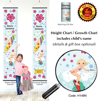 Height Chart - Surfing Surfer Girl