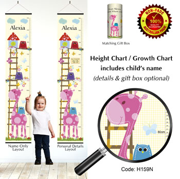 Height Growth Chart with Baby Pink Giraffe