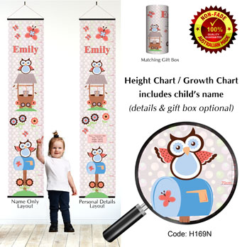Height Growth Chart with Hoot Owls for Girl