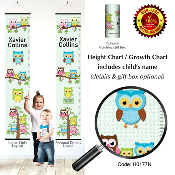 Height Chart - Family of Owls Green Background