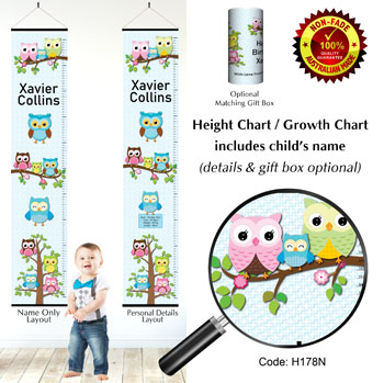 Height Chart - Family of Owls Blue Background