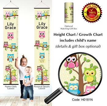 Height Chart - Family of Owls Yellow Background