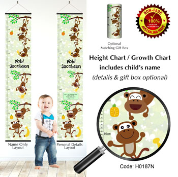 Height Chart - Monkey Theme For Kids