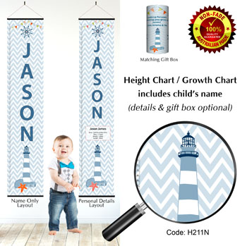 Height Growth Chart Lighthouse Chevron Pattern