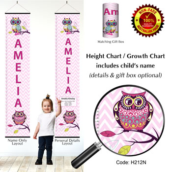 Chevron Theme Owls Height Chart for Girl