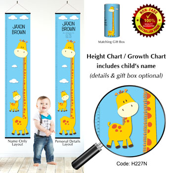 Height Growth Chart with Tall Giraffe & Baby