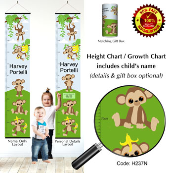 Height Chart - Funny Monkey Theme