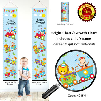 Height Growth Chart Circus Animals on Train Theme