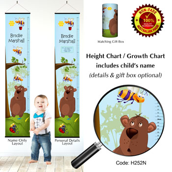 Height Growth Chart with Bear and Bees
