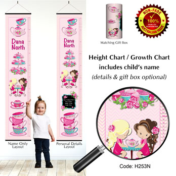 Height Growth Chart with Girls High Tea Party