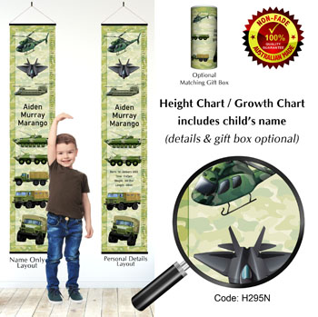 Height Growth Charts with Army Trucks or Military Defence Theme
