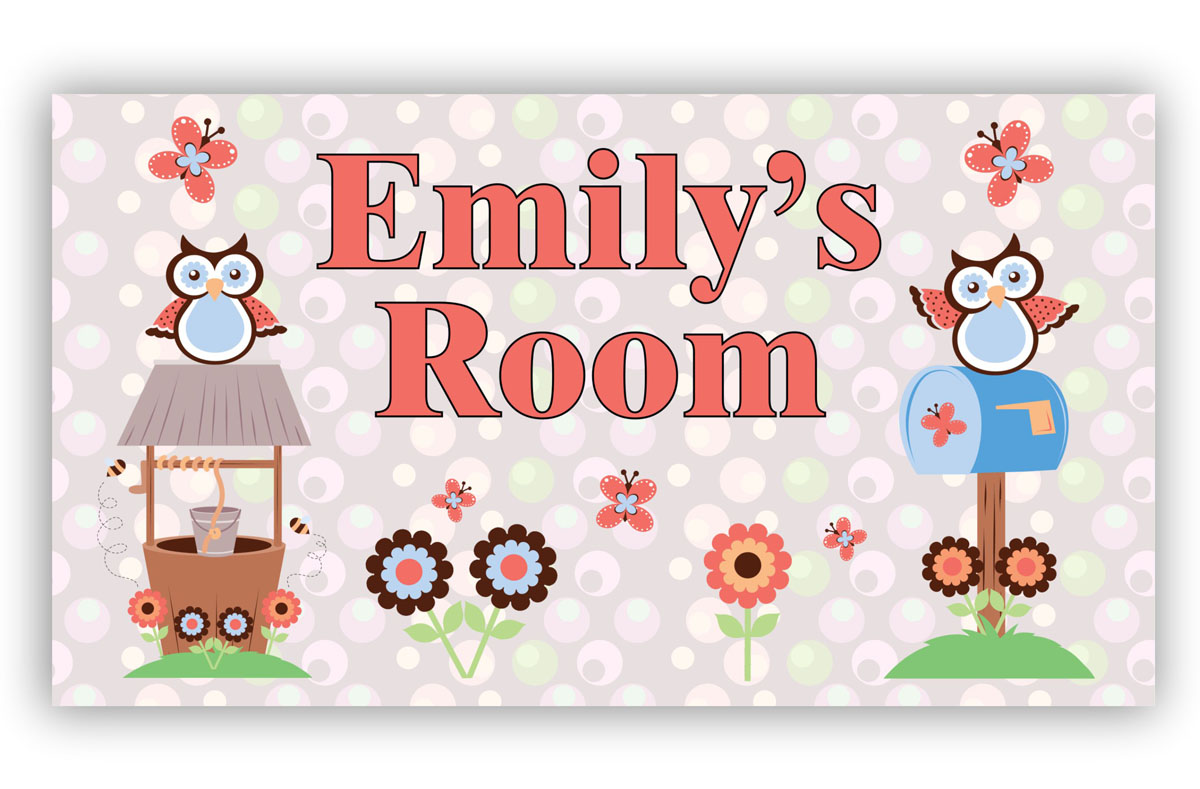 Room Door Sign Owls and Butterflies