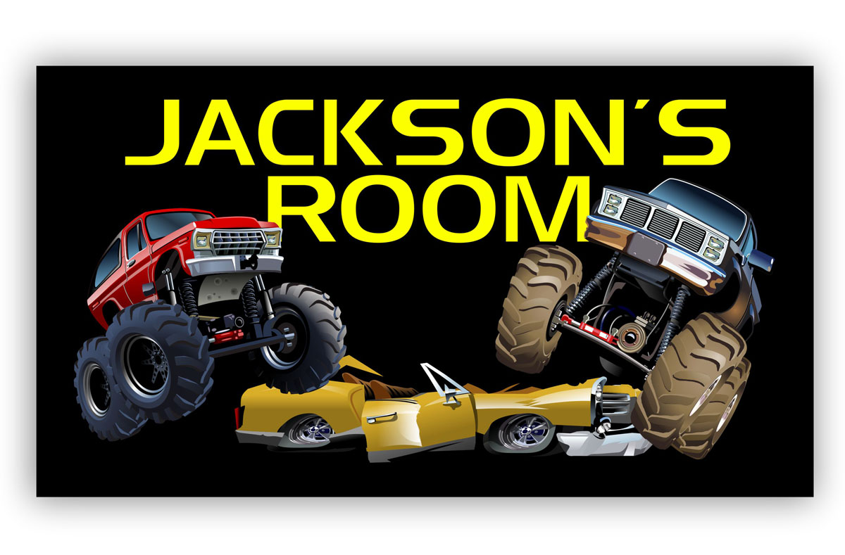 Room Door Sign with Monster Trucks or Cars