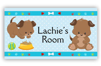 Room Door Sign Puppy Dog Blue Theme