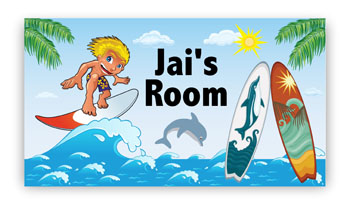 Room Door Sign Surfing Theme