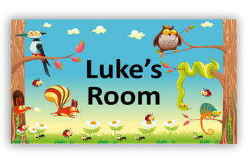 Room Door Sign Forest Animals in Woods