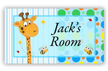 Room Door Sign Giraffe Blue Theme