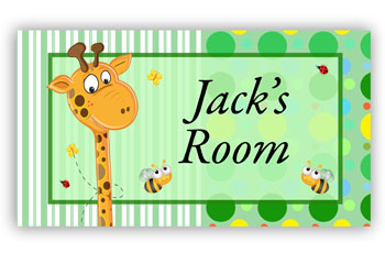 Room Door Sign Giraffe Green Theme