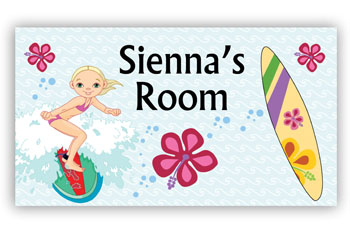 Room Door Sign Surfing Girl Theme