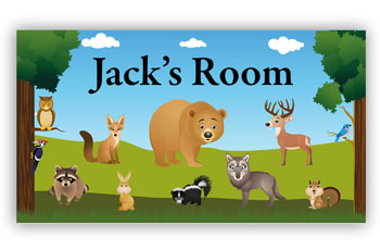 Room Door Sign Woodland Animals