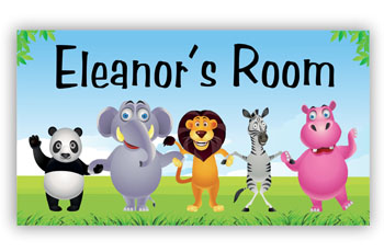 Room Door Sign Jungle Animals