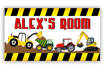 Boys Door Sign Plaque with Dirt Diggers Under Construction