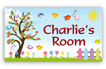 Room Door Sign Spring Birds Theme