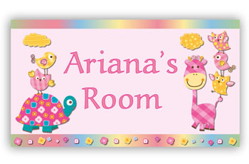 Room Door Sign Giraffe and Turtle Theme