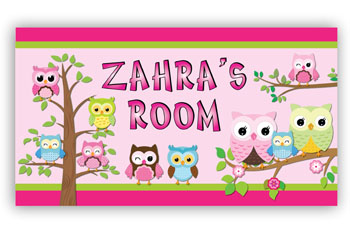 Room Door Sign Family of Owls for Girls