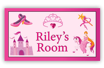 Room Door Sign Princess on Horse in Pink Theme