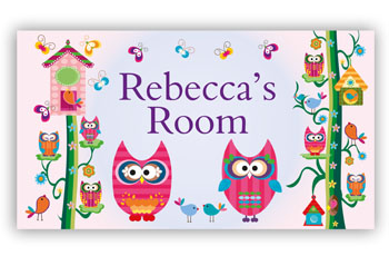 Room Door Sign with Owls in Pink Theme