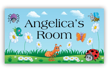 Room Door Sign with Spring Garden Insects