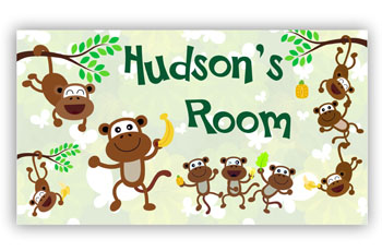 Room Door Sign Dancing Monkeys for Kids Bedroom