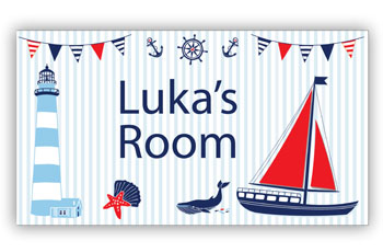 Room Door Sign with Lighthouse and Sailboat