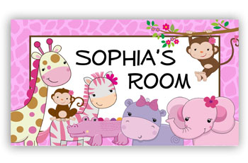 Girls Door Room Sign Jungle Animals Pink Theme