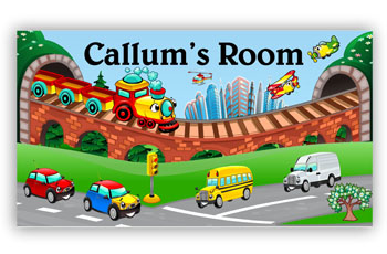 Room Door Sign Transport Country and City Theme