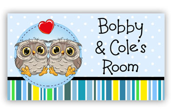 Room Door Sign for Twin Boys or Brothers, Owl Theme