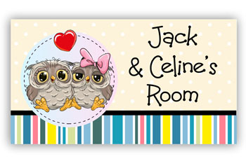 Room Door Sign for Twin Girl and Boy or Sister, Brother, Owl Theme