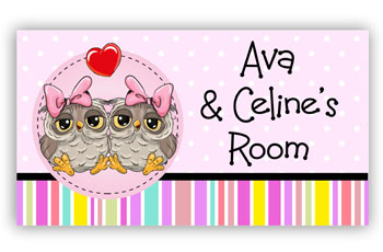 Room Door Sign for Twin Girls or Sisters, Owl Theme