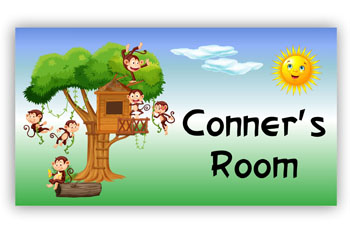 Room Door Sign for Cubby House in Monkey Tree Theme