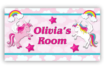 Unicorns Bedroom Door Sign Plaque for Girls with Rainbows