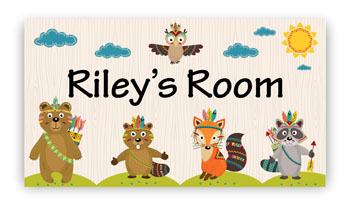 Room Door Sign with Tribal Owl, Bears Animals Theme