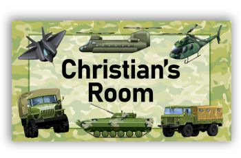 Room Door Sign Army Trucks Military Defence Theme