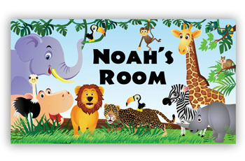 Room Door Sign Jungle Animals Theme in Disney Style